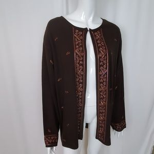 Lane Bryant Brown Beaded Embroidered Cardigan